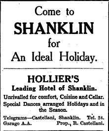 1924 advert for Hollier's Hotel